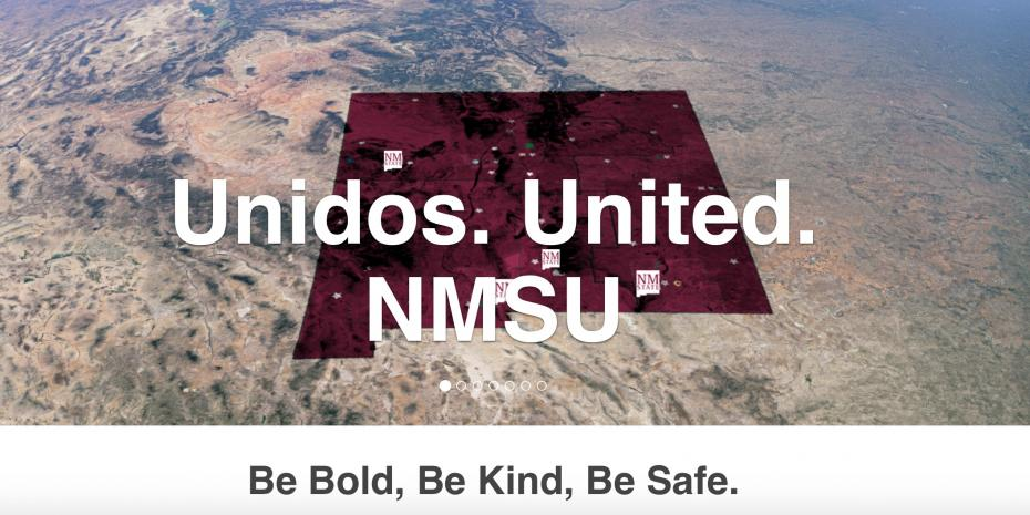 Screenshot of website with state of New Mexico outlined in Crimson with text Unidos. United. NMSU in white.